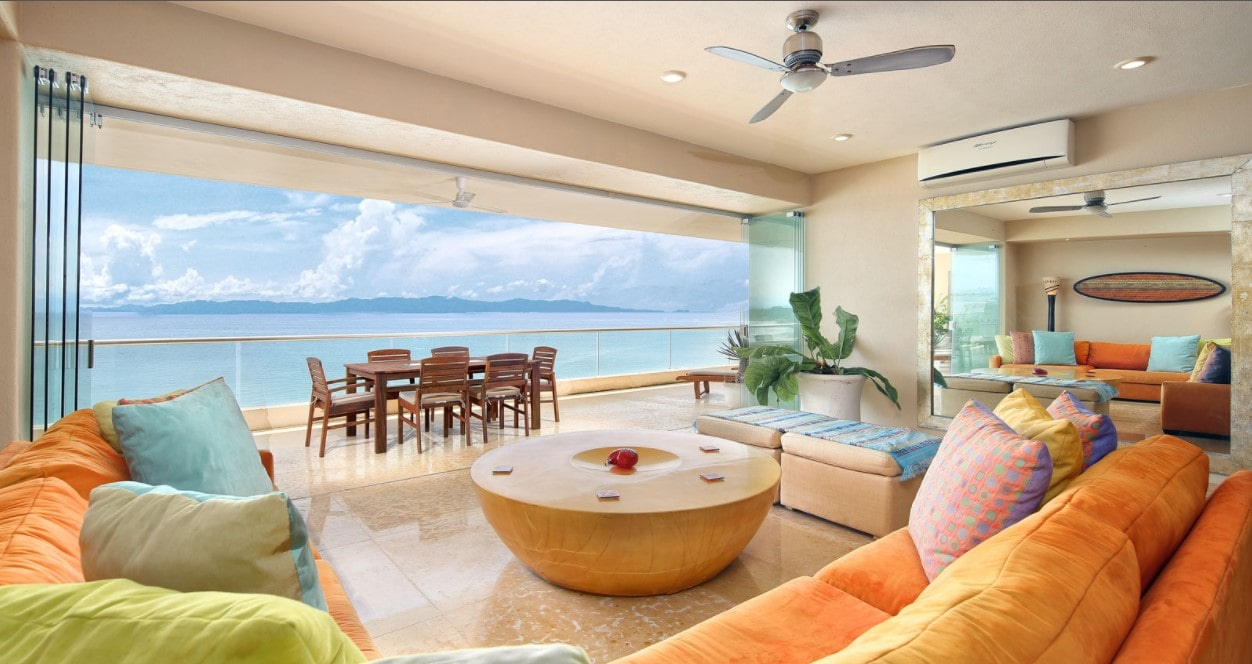 A living room inside a beachfront house