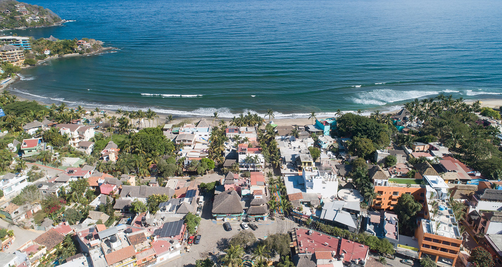 Aerial view of the beachfront neighborhood